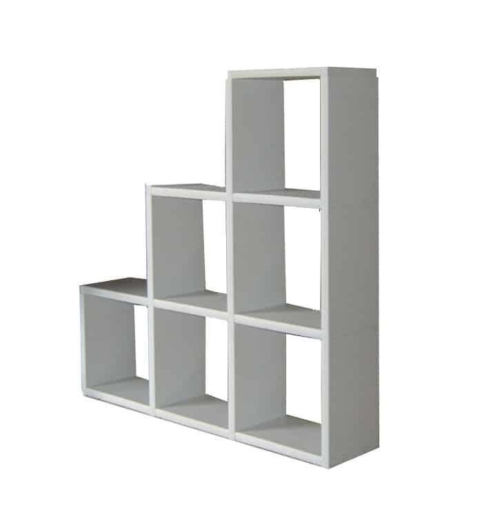 bibliothèque 6 cases escalier