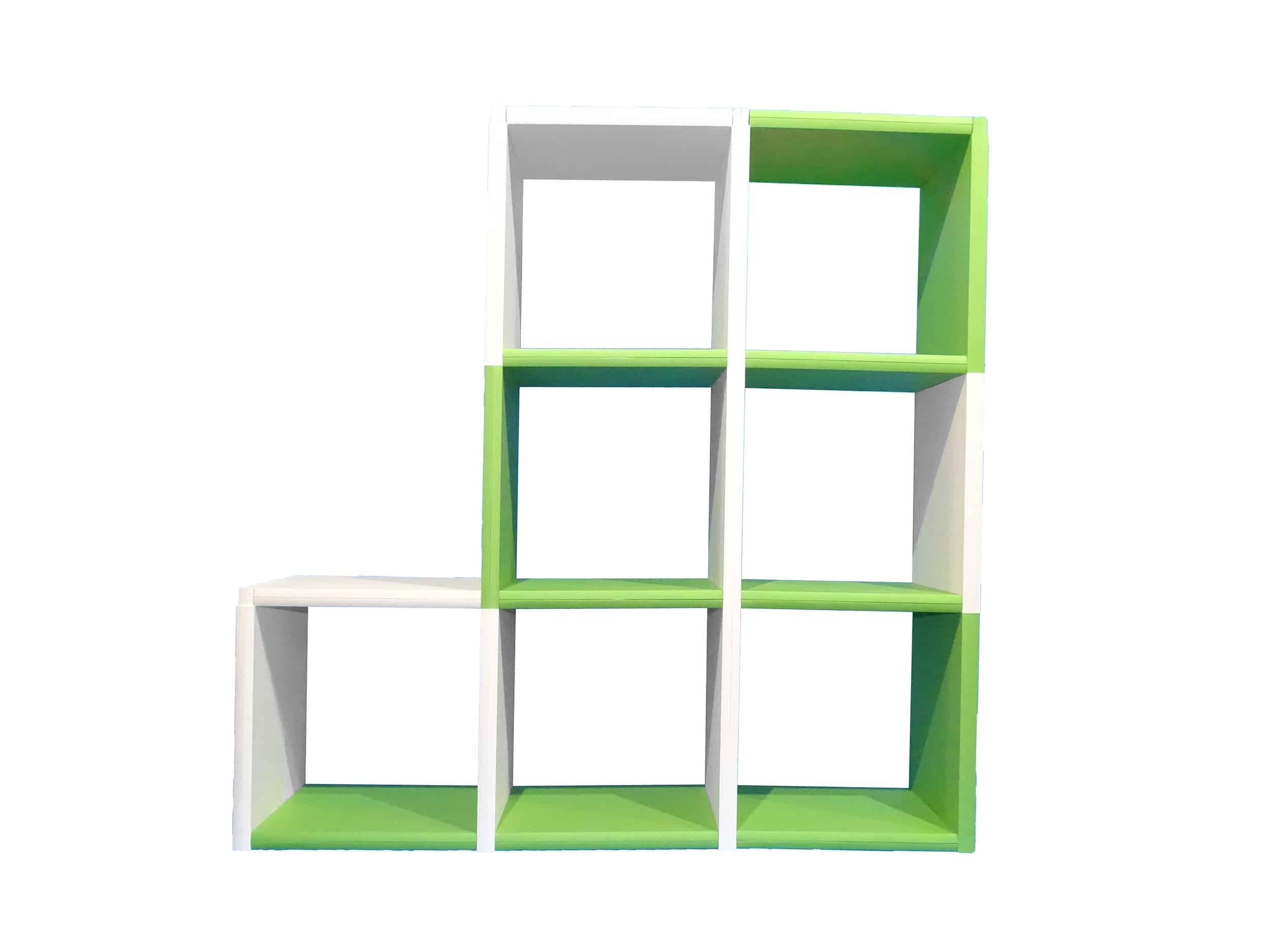 bibliothèque 7 cases bicolore clikube